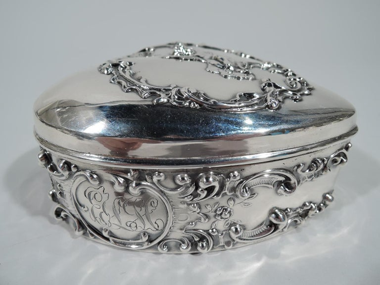 Edwardian Antique American Sterling Silver Romantic Heart Jewelry Box For Sale