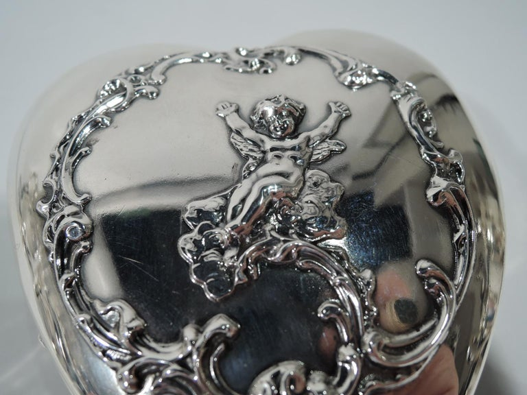 Antique American Sterling Silver Romantic Heart Jewelry Box For Sale 1
