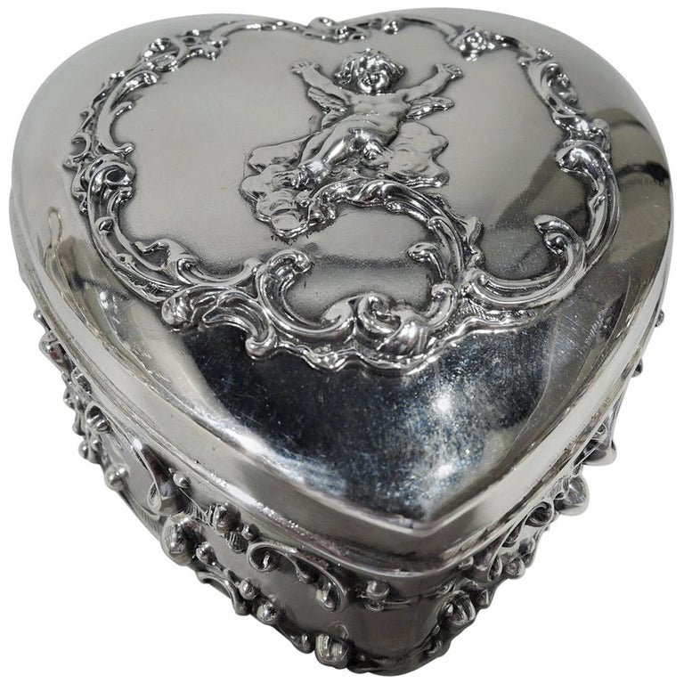 Antique American Sterling Silver Romantic Heart Jewelry Box For Sale