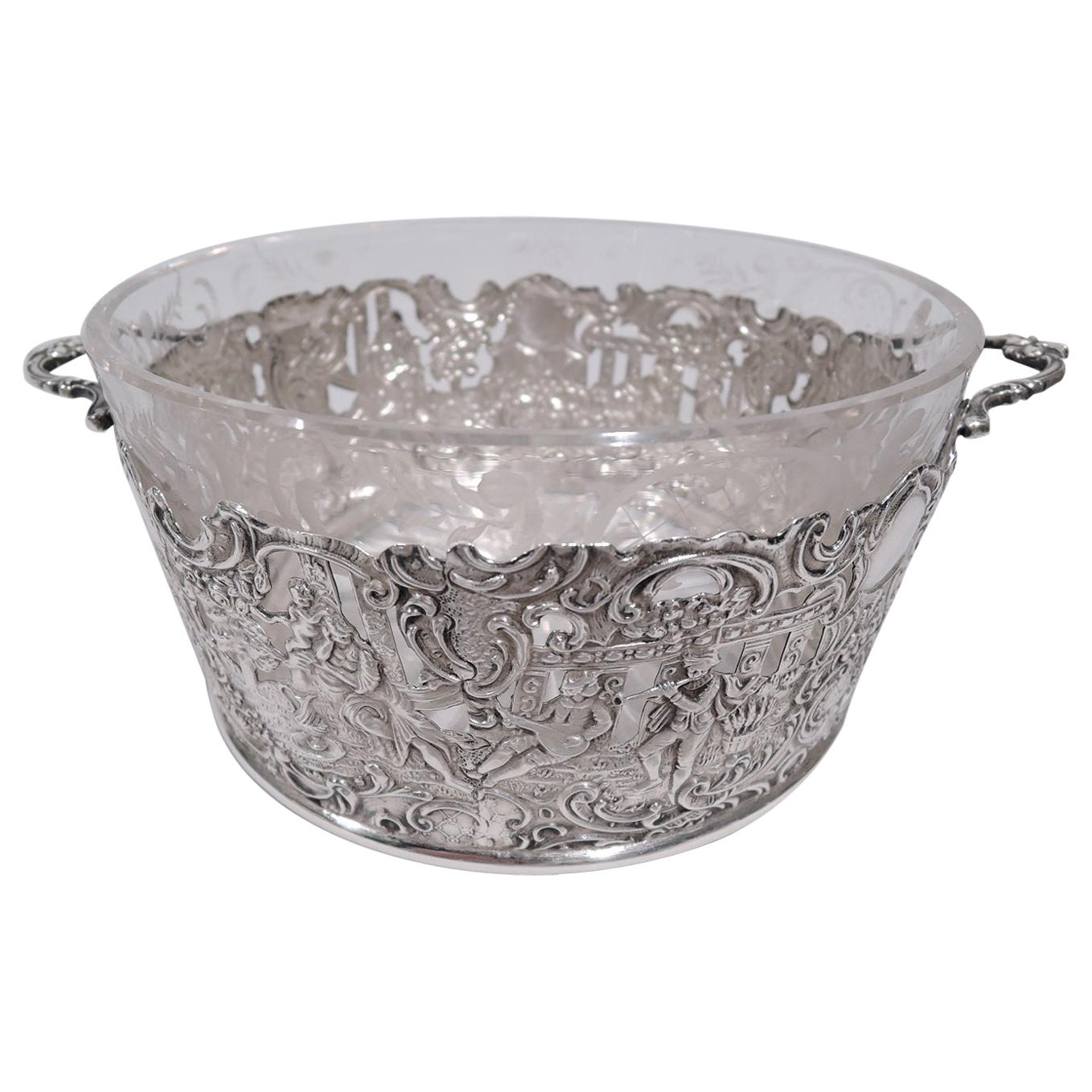 Antique American Sterling Silver Troubadour Ice Bucket