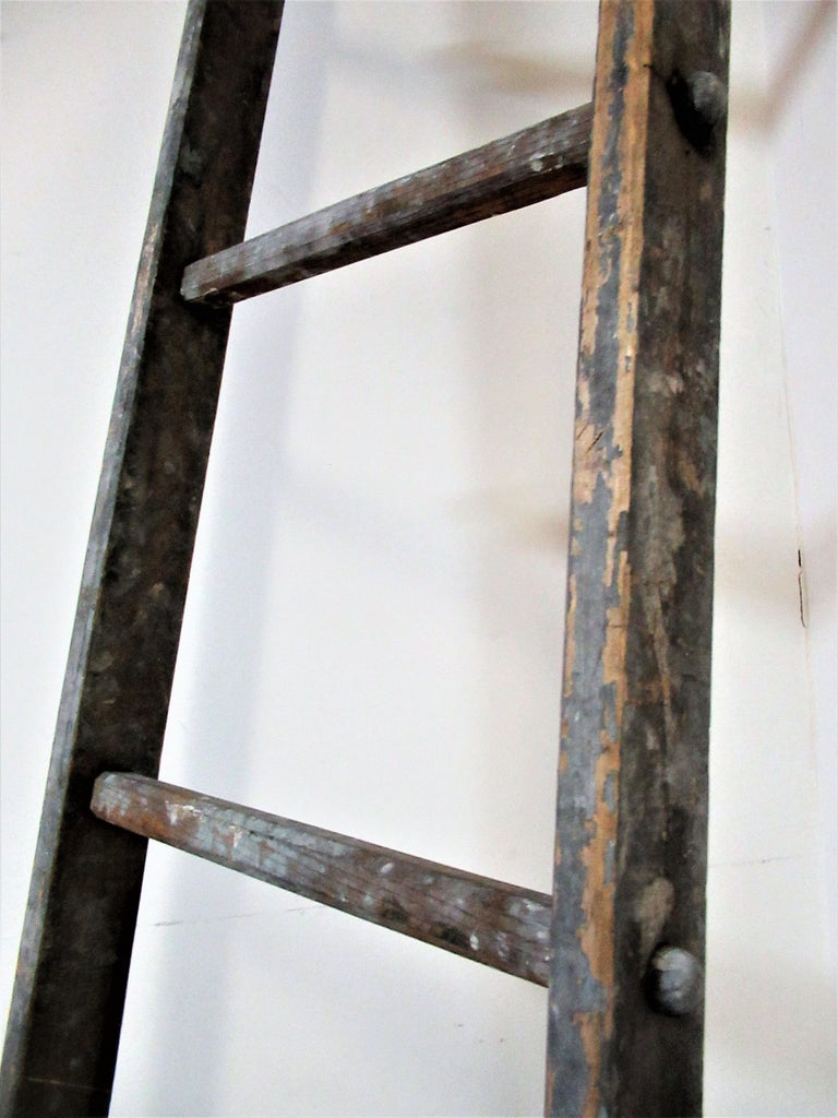 Antique American Tall Tapered Wood Harvest Ladder For Sale