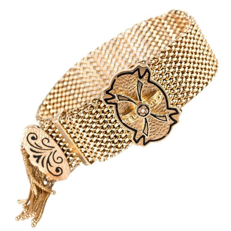 Antique American Tassel Slide Bracelet with Enamel
