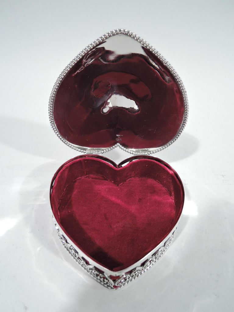 Sterling Silver Antique American Victorian Gushingly Romantic Jewelry Heart Box For Sale