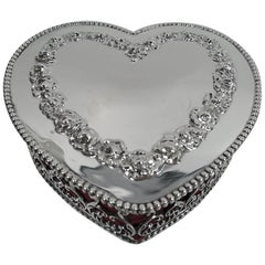 Antique American Victorian Gushingly Romantic Jewelry Heart Box