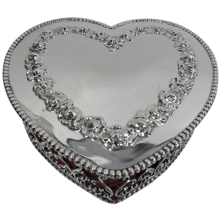 Antique American Victorian Gushingly Romantic Jewelry Heart Box For Sale