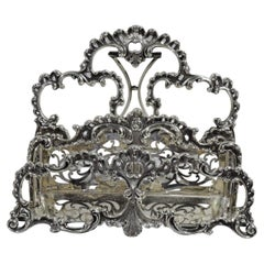 Antique American Victorian Rococo Sterling Silver Letter Rack
