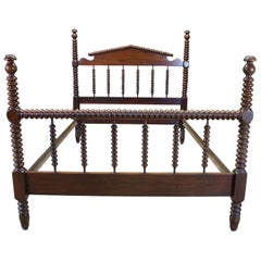 Antique American Walnut Jenny Lind Style Federal Spool Full Size Post Bed
