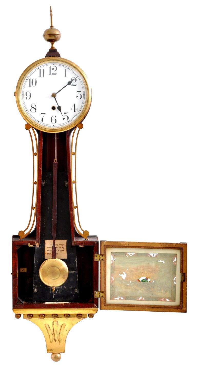Mahogany Antique American Waterbury Willard 8 day Églomisé
