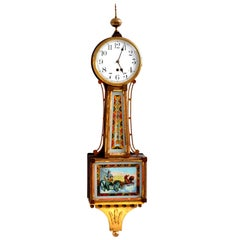 "Antique American Waterbury Willard 8 day Églomisé ""Aurora"" #3 Banjo Clock, 1908"