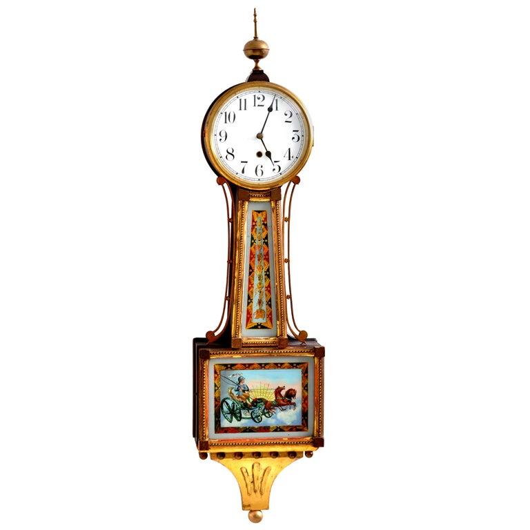 """Antique American Waterbury Willard 8 day Églomisé """"Aurora"""" #3 Banjo Clock, 1908 For Sale"""