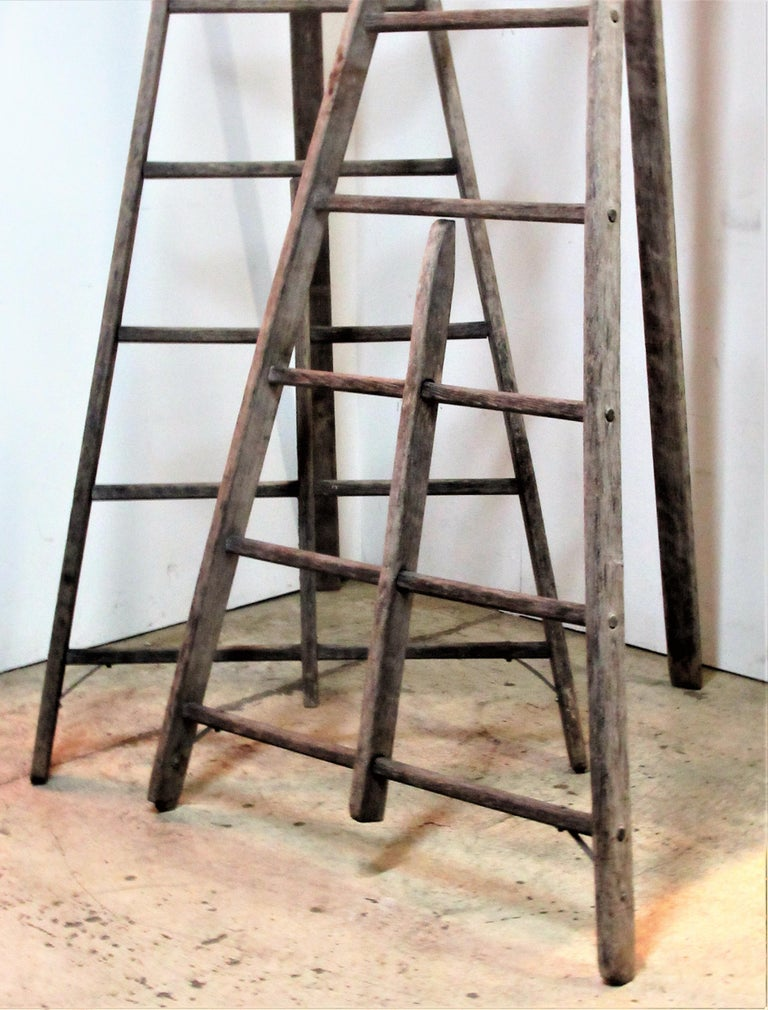 Antique American Wood And Iron A Frame Peak Top Folding