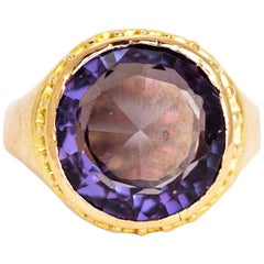 Antique Amethyst 15 Carat Gold Signet Ring