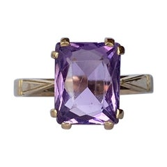 Antique Amethyst 9 Carat Gold Cocktail Ring