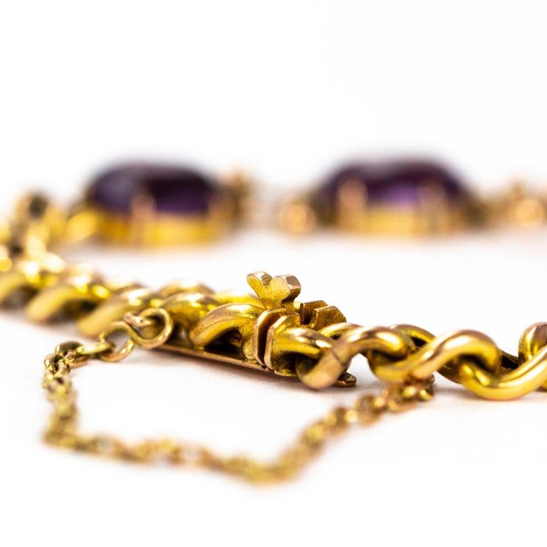Edwardian Antique Amethyst and 9 Carat Gold Bracelet