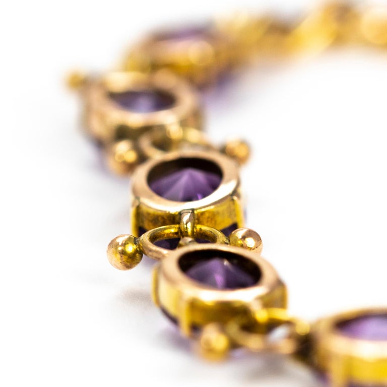 Antique Amethyst and 9 Carat Gold Bracelet In Good Condition In Chipping Campden, GB