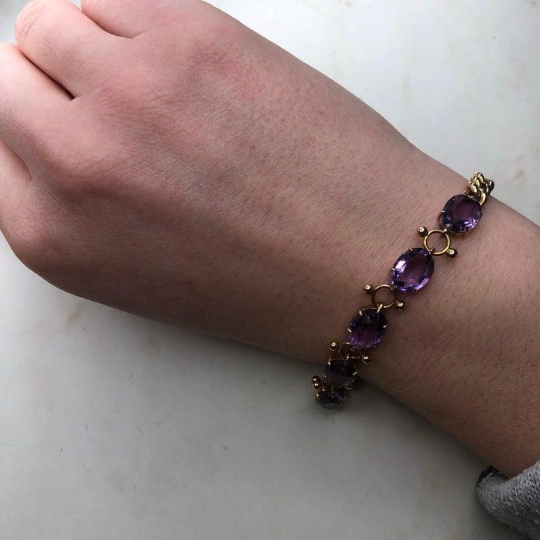 Women's Antique Amethyst and 9 Carat Gold Bracelet