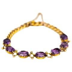 Antique Amethyst and 9 Carat Gold Bracelet