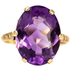 Antique Amethyst and 9 Carat Gold Cocktail Ring