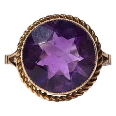 Antique Amethyst and 9 Carat Gold Ring