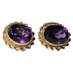 Antique Amethyst and 9 Carat Gold Stud Earrings