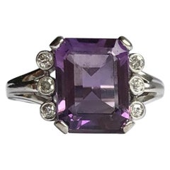Antique Amethyst and Diamond 14 Carat White Gold Ring