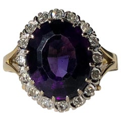 Antique Amethyst and Diamond 18 Carat Gold Cluster Ring