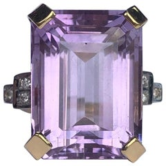 Antique Amethyst and Diamond 18 Carat Gold Cocktail Ring