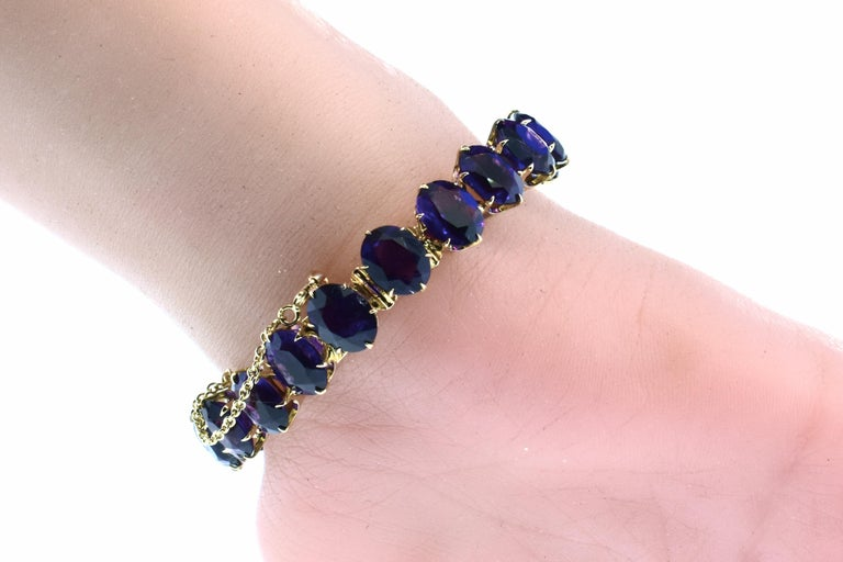 Antique Amethyst and Gold Flexible Bracelet, circa 1870 For Sale 4