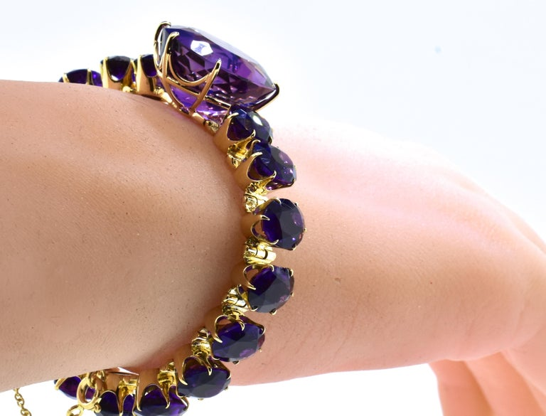 Antique Amethyst and Gold Flexible Bracelet, circa 1870 For Sale 5