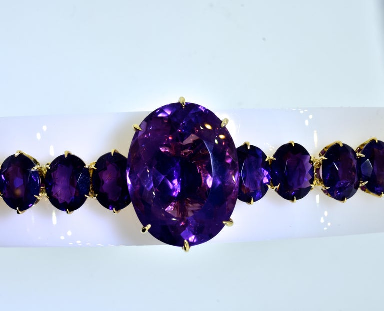 Victorian Antique Amethyst and Gold Flexible Bracelet, circa 1870 For Sale
