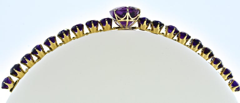 Oval Cut Antique Amethyst and Gold Flexible Bracelet, circa 1870 For Sale