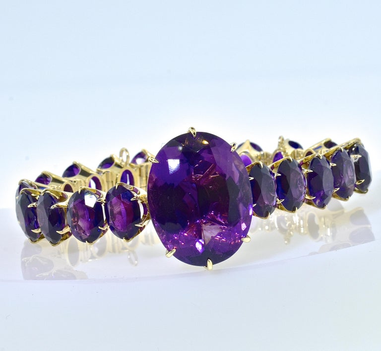 Antique Amethyst and Gold Flexible Bracelet, circa 1870 In Excellent Condition For Sale In Aspen, CO