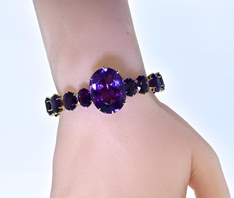 Antique Amethyst and Gold Flexible Bracelet, circa 1870 For Sale 3