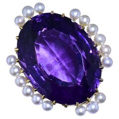 Antique Amethyst and Natural Pearl Gold Brooch, by Birks, circa 1895