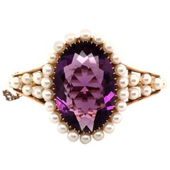 Antique Amethyst and Pearl Bangle in 18 Karat Gold