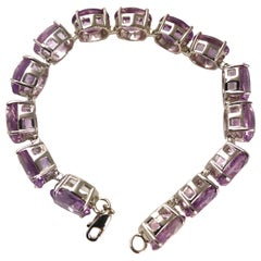 Antique Amethyst and Silver Bracelet