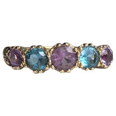 Antique Amethyst and Topaz 9 Carat Gold Harlequin Five-Stone Ring