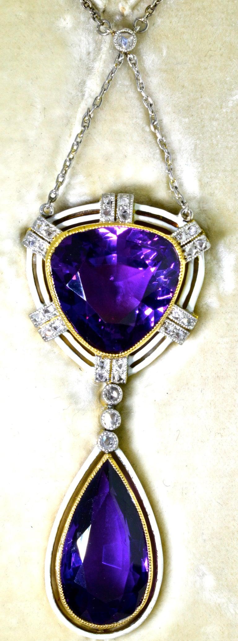 Belle Époque Antique Amethyst, Diamond and Enamel Pendant Necklace, circa 1895 For Sale