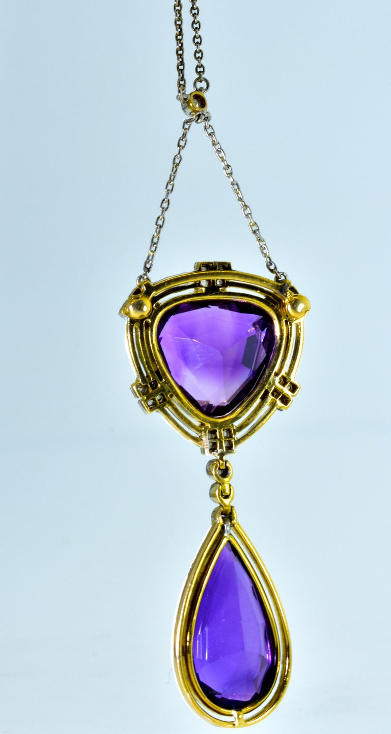 Antique Amethyst, Diamond and Enamel Pendant Necklace, circa 1895 In Good Condition For Sale In Aspen, CO