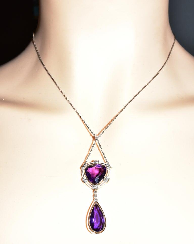 Women's or Men's Antique Amethyst, Diamond and Enamel Pendant Necklace, circa 1895 For Sale