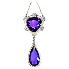 Antique Amethyst, Diamond and Enamel Pendant Necklace, circa 1895