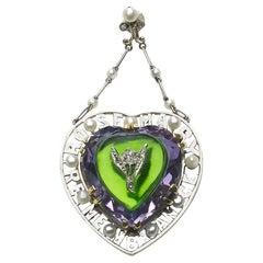 Antique Amethyst, Diamond and Glass Suffragette Pendant, circa 1913