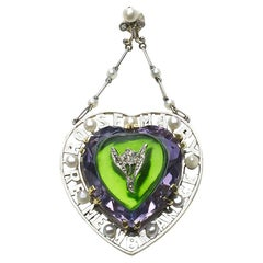 Antique Amethyst, Diamond and Glass Suffragette Pendant, circa 1913