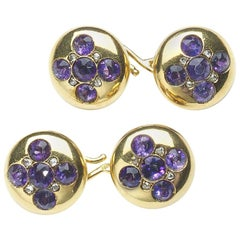 Antique Amethyst Diamond and Gold Cufflinks, circa 1900