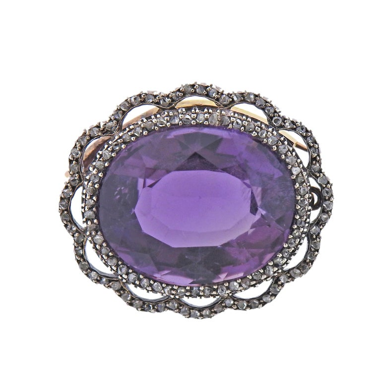 Antique Amethyst Diamond Gold Silver Brooch Pendant In Excellent Condition For Sale In New York, NY