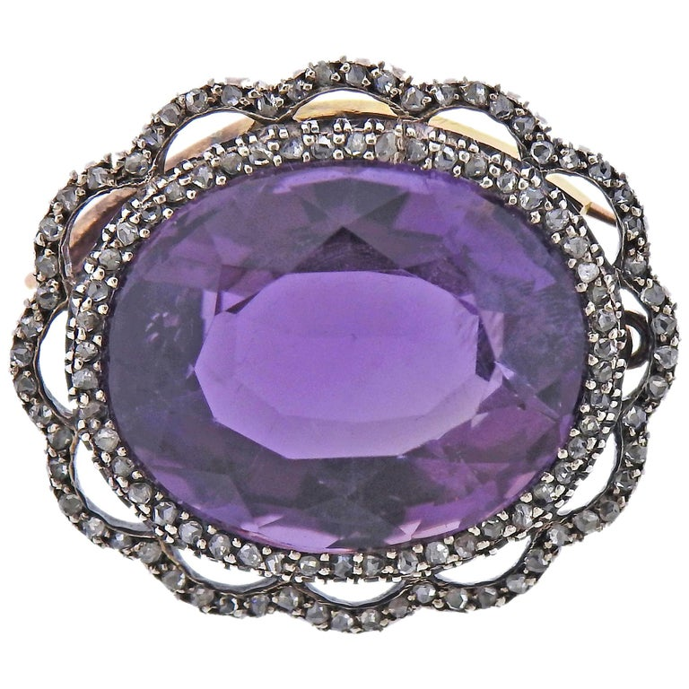 Antique Amethyst Diamond Gold Silver Brooch Pendant For Sale