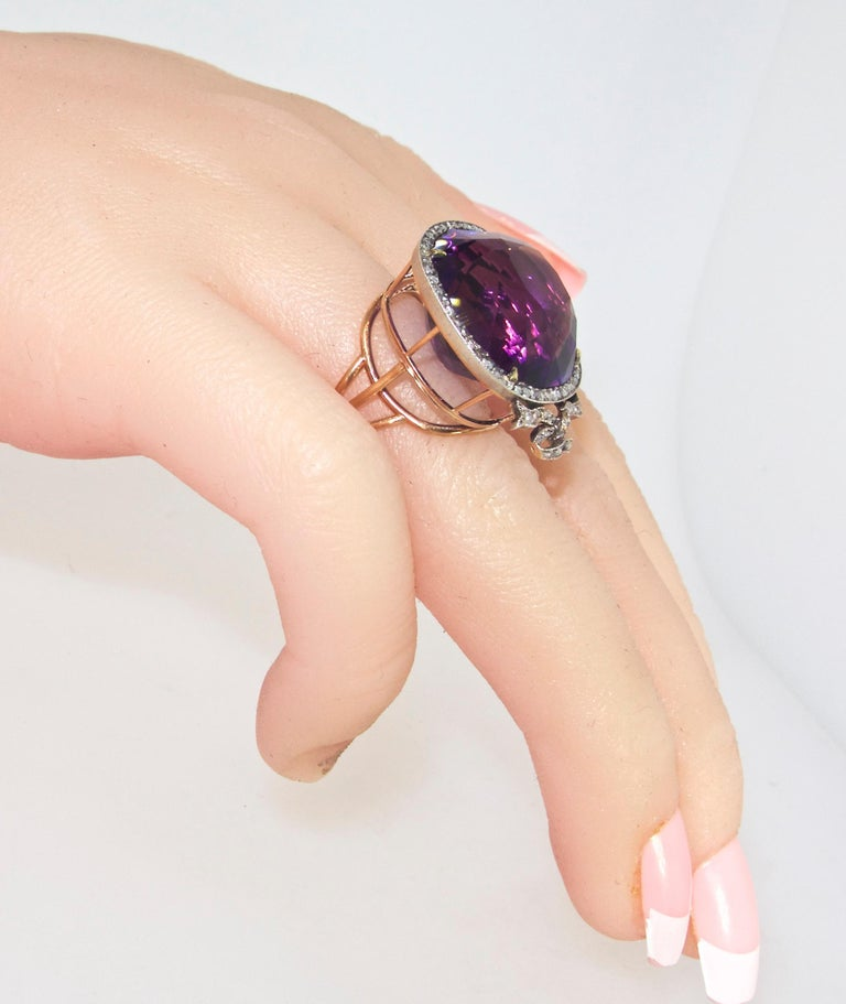 Antique Amethyst from Siberia and Rose Cut Diamond Ring, circa 1880 In Excellent Condition For Sale In Aspen, CO