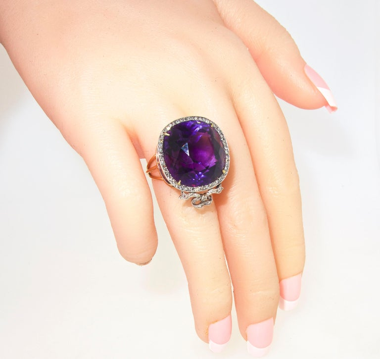 Women's or Men's Antique Amethyst from Siberia and Rose Cut Diamond Ring, circa 1880 For Sale