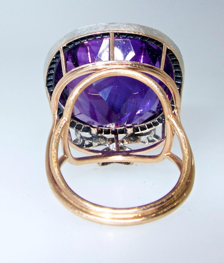 Antique Amethyst from Siberia and Rose Cut Diamond Ring, circa 1880 For Sale 1