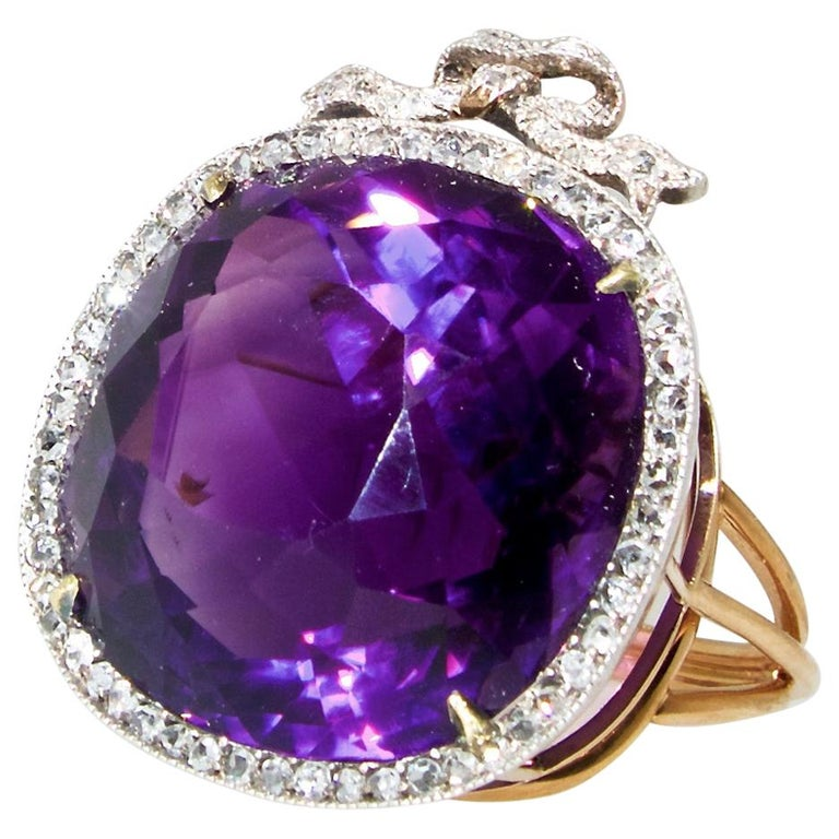 Antique Amethyst from Siberia and Rose Cut Diamond Ring, circa 1880 For Sale